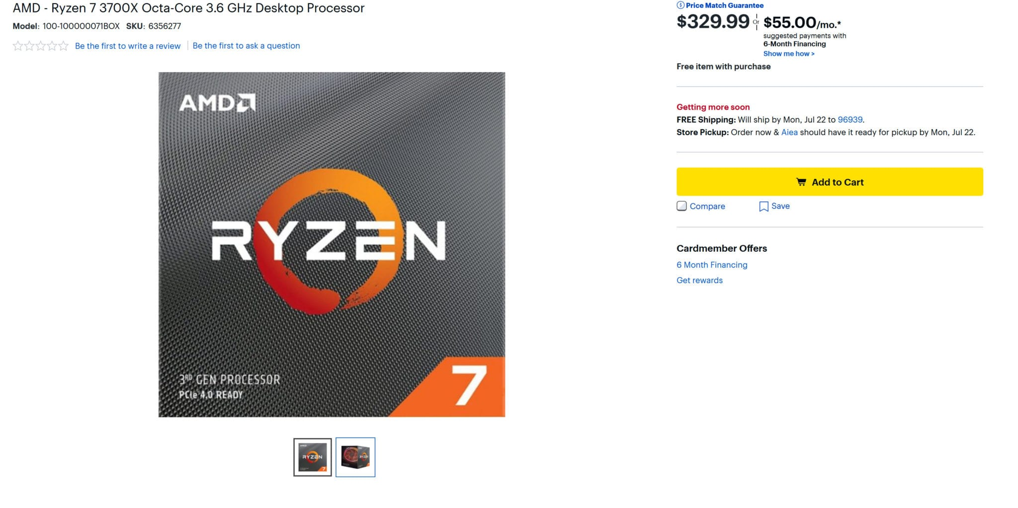 Amd Ryzen 7 3700x 3800x Overpriced At Amazon 150 More Than The Msrp Techquila