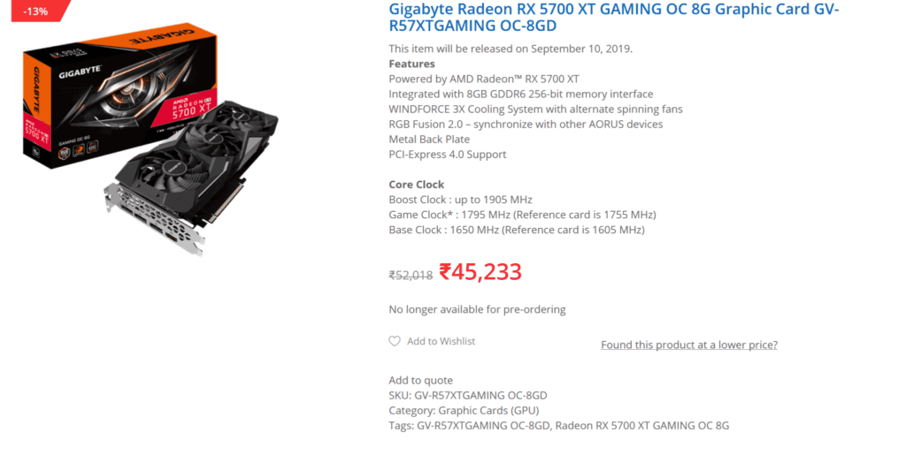 Custom AMD Radeon RX 5700 XT Cards from Gigabyte and Asus Overpriced in India
