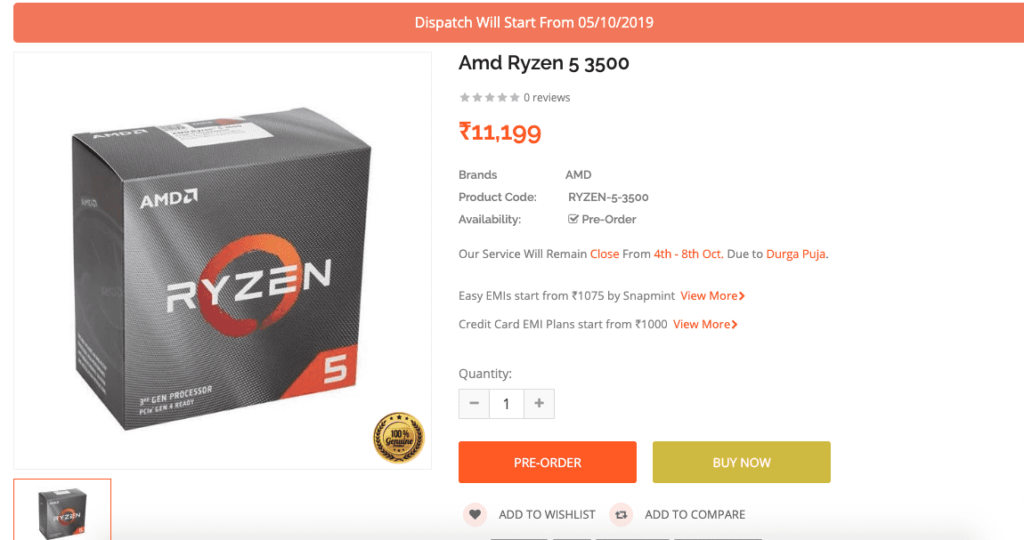 Amd Ryzen 5 3500 Price Listed Online For Purchase Dispatch Starting October 5 Techquila