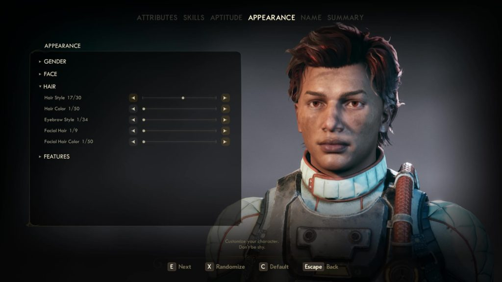 The Outer World's character creator system