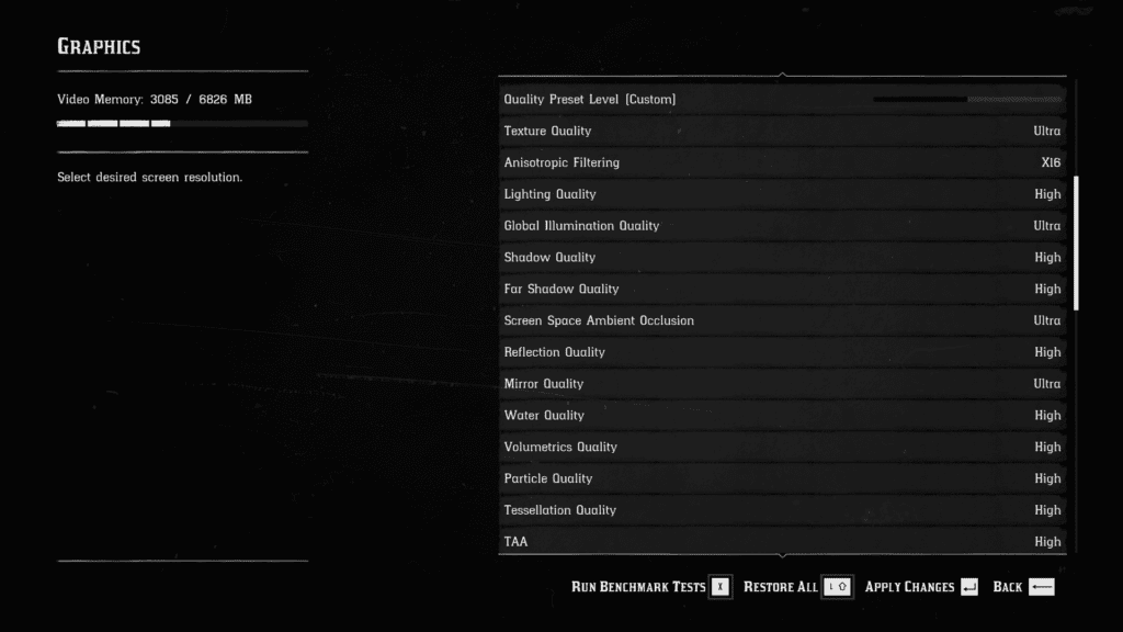 Red Dead Redemption II PC Settings