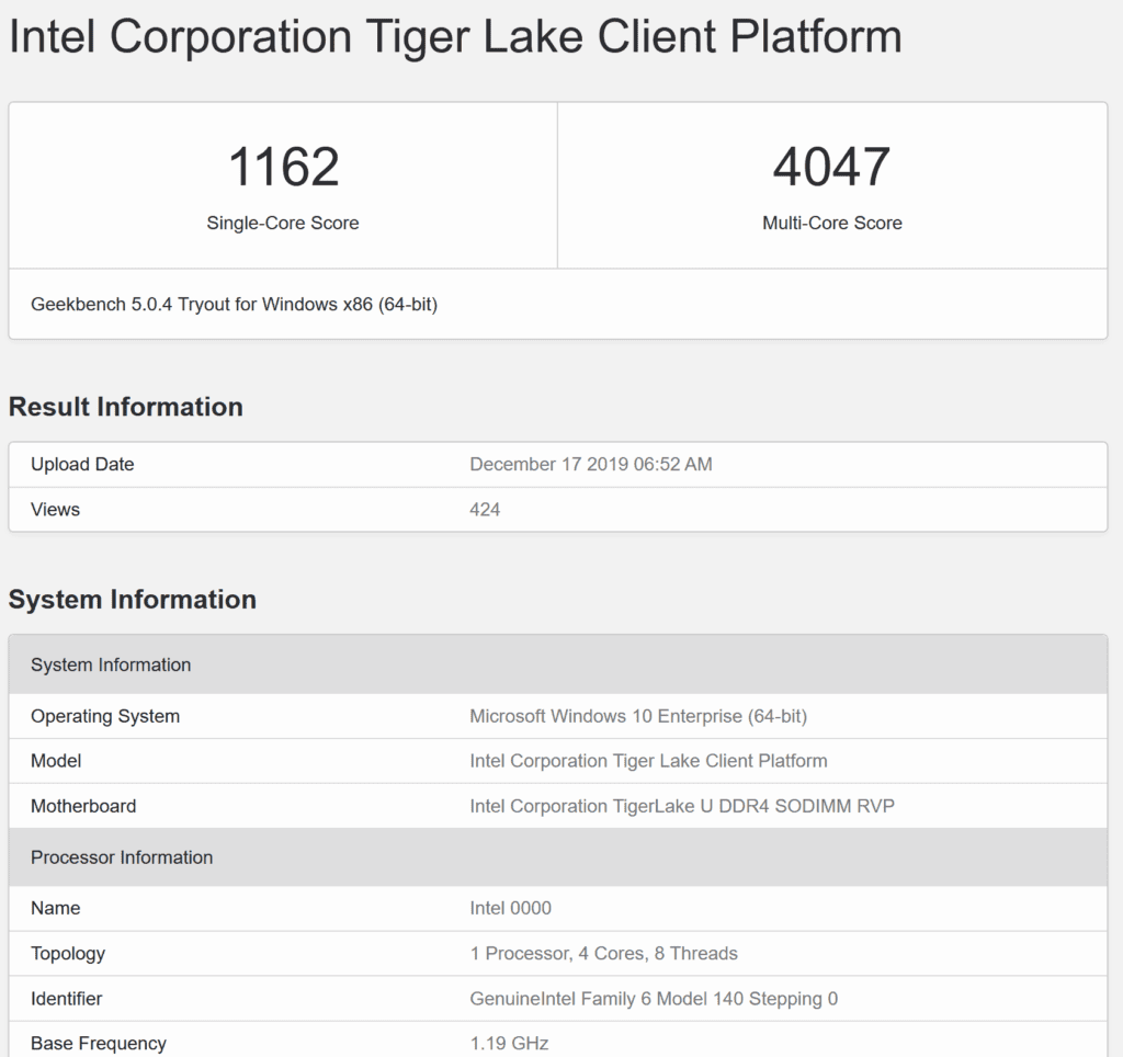 11th Gen Intel Tiger Lake-U CPU Spotted On Geekbench, Up to 2x Faster than Coffee Lake Based Core i5-8250U