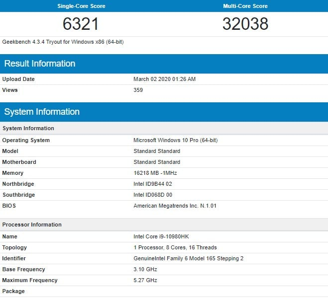 Intel Core i9 10980HK Geekbench Score