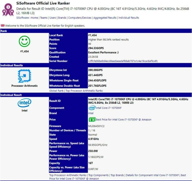 Intel Core i7-10700K Leaked Specs