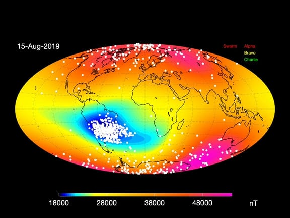 South Atlantic Anomaly spreading, showing signs of a weakened magnetic field