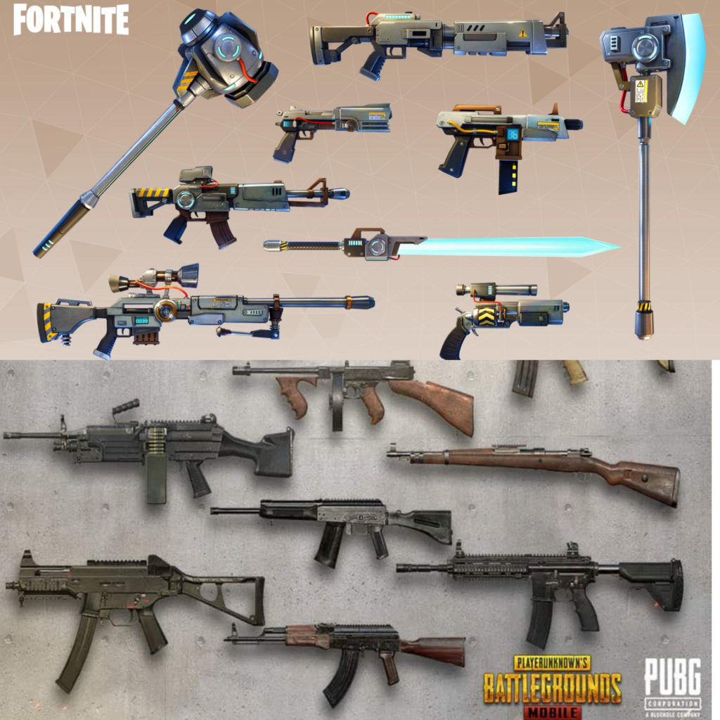 fortnite-vs-pubg weapon comparision