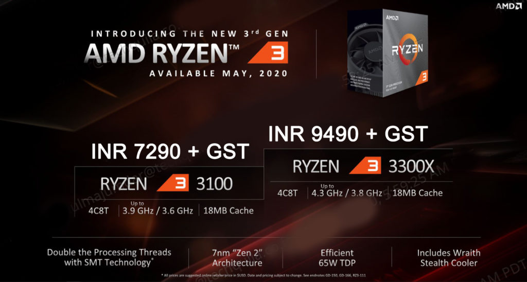 Ryzen 3 3100 and 3300X Indian Pricing