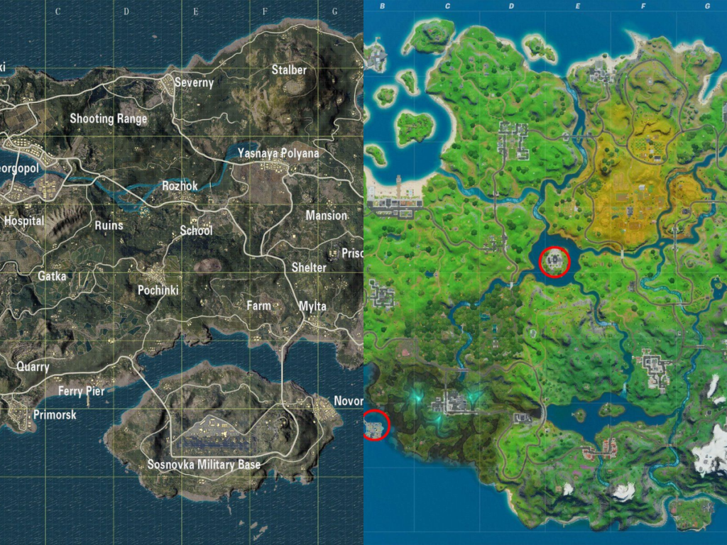 fortnite-vs-pubg map comparison