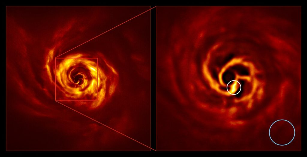 The images of the AB Aurigae system showing the disc around it. The image on the right is a zoomed-in version of the area indicated by a red square on the image on the left. It shows the inner region of the disc, including the very-bright-yellow 'twist' (circled in white) that scientists believe marks the spot where a planet is forming. This twist lies at about the same distance from the AB Aurigae star as Neptune from the Sun. The blue circle represents the size of the orbit of Neptune.