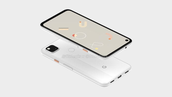 Google Pixel 4a render showing hole-punch camera and headphone jack