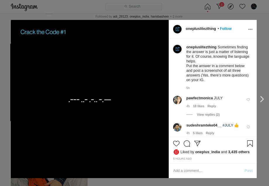 OnePLus Z instagram post that hints at July being when we could see the device.