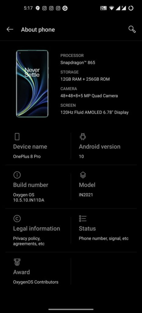 Latest Version of Oxygen OS on the Indian retail unit of the OnePlus 8 Pro
