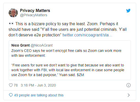 Here's Why Zoom Doesn't Provide E2E Encryption to their Free Users