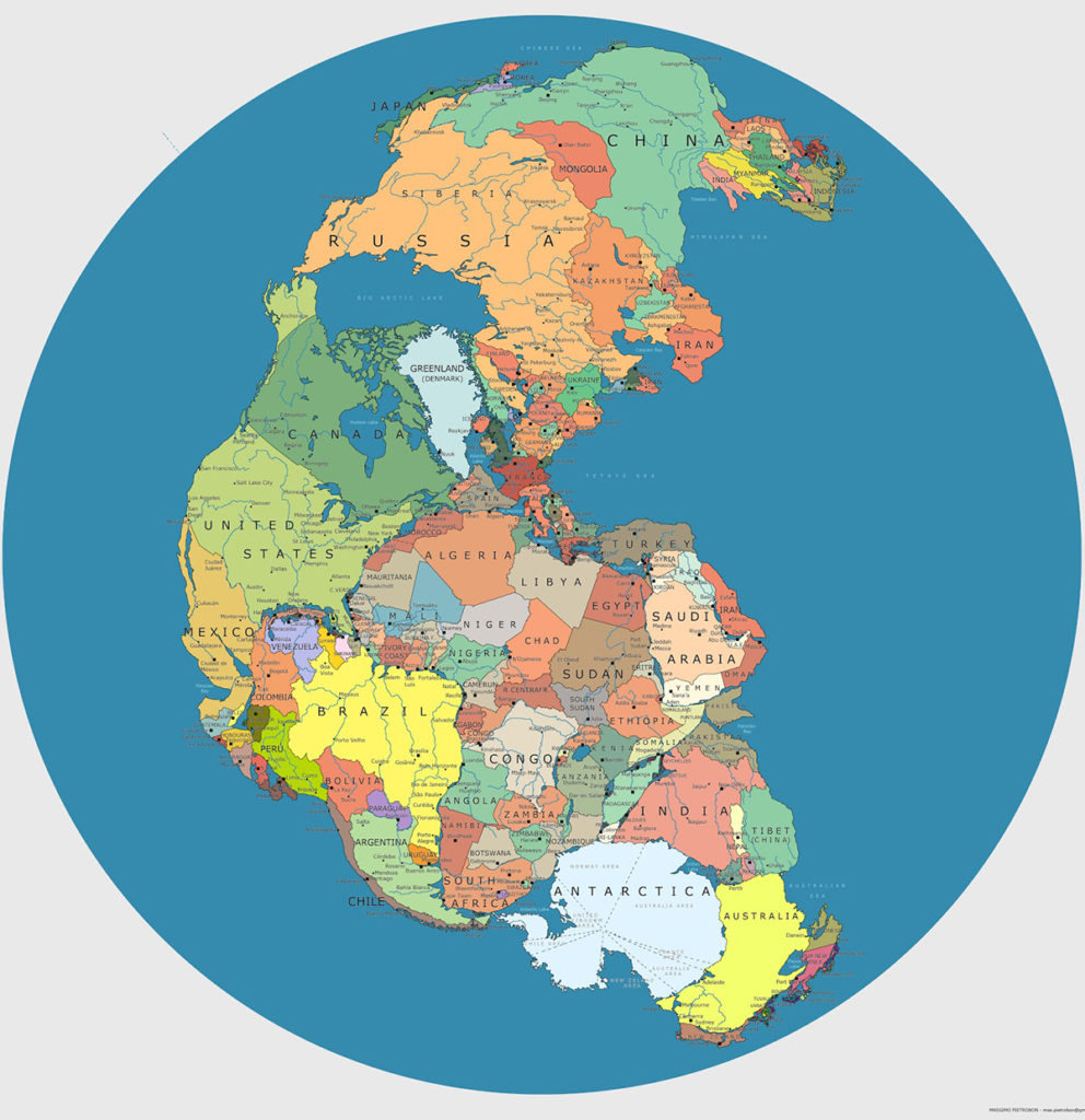 Pangea with modern borders