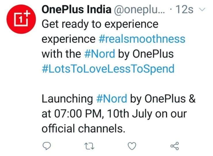 OnePlus India's now deleted tweet with Nord name on it