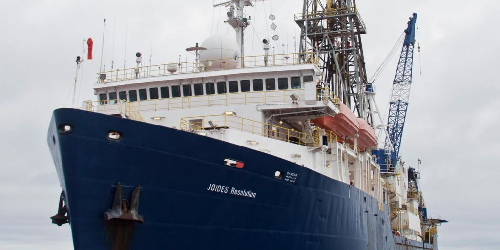 The JOIDES research vessel on an expedition to Zealandia