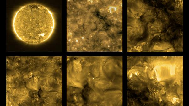 Images of the sun as taken by the Solar orbiter and released by the ESA.