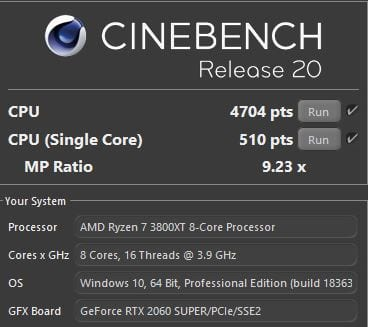 AMD Ryzen 7 3800XT Cinebench R20 Benchmark