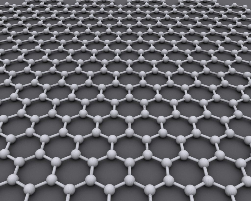 Graphene is just Carbon atoms arranged in a hexagonal manner.