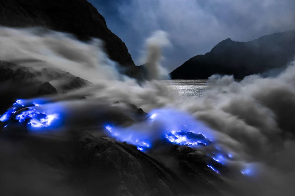 volcano blue flame