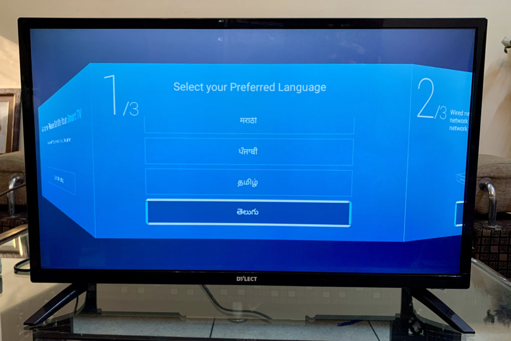 Dylect smart TV Language selection