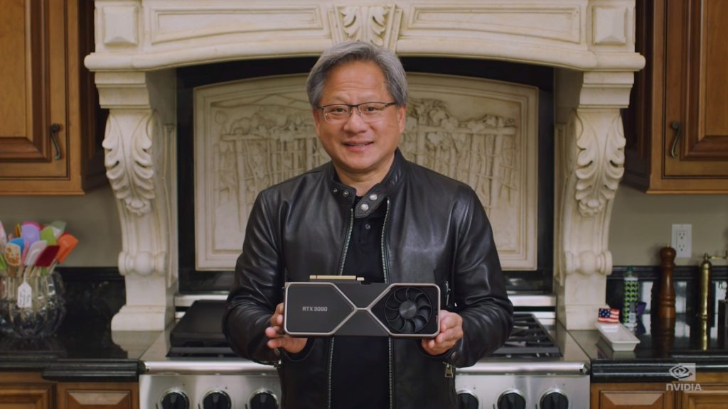 Jensen Huang, CEO of NVIDIA with GeForce RTX 3080