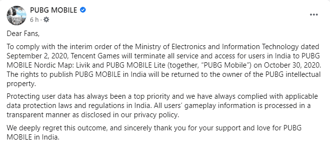 The PUBG Mobile Facebook page announces the closure of all game-related services in India by the end of October.