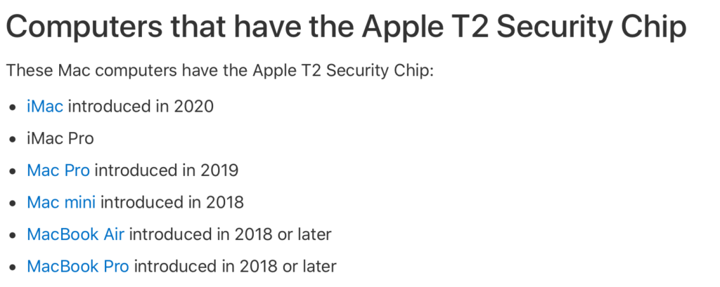 Mac with T2 chip