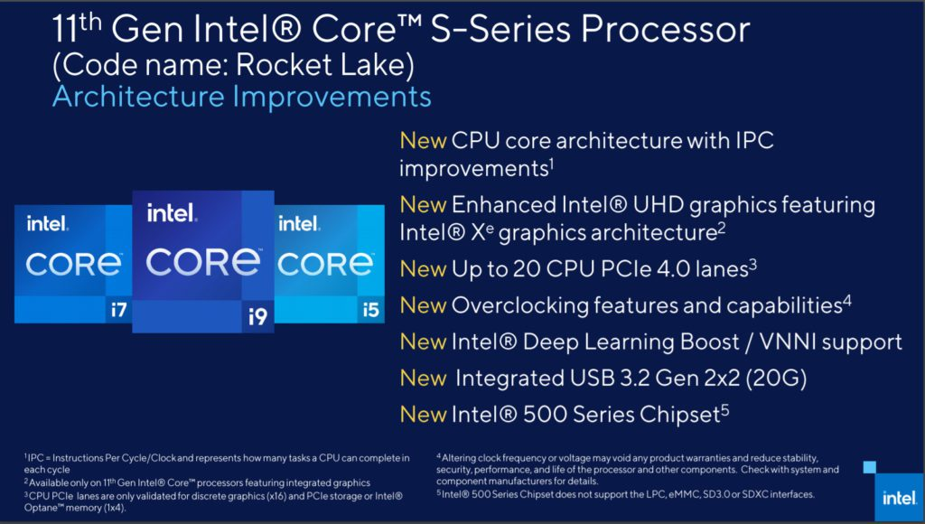 Intel Cypress Cove (11th Generation Rocket Lake) architectural improvements and new features