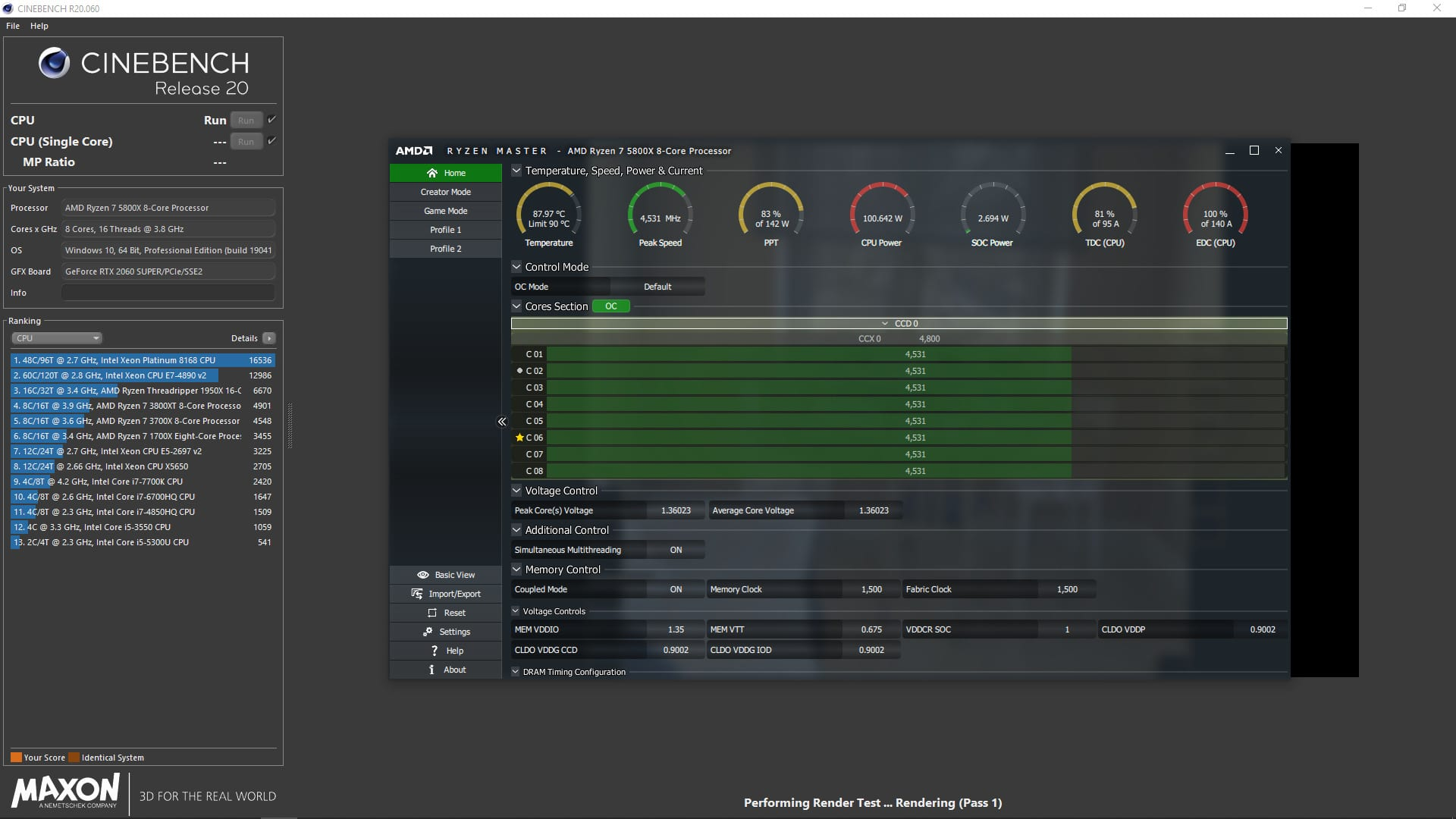 AMD Ryzen 7 5800X All Core workload in Cinebench R20 - It reaches 4.5 GHz on all cores!