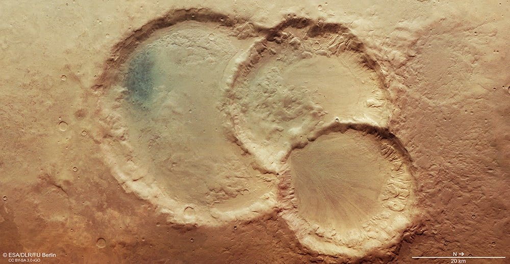 The triple crater has well defined partitions.