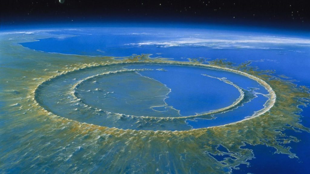 The Chicxulub crater was created by a very forceful impact.