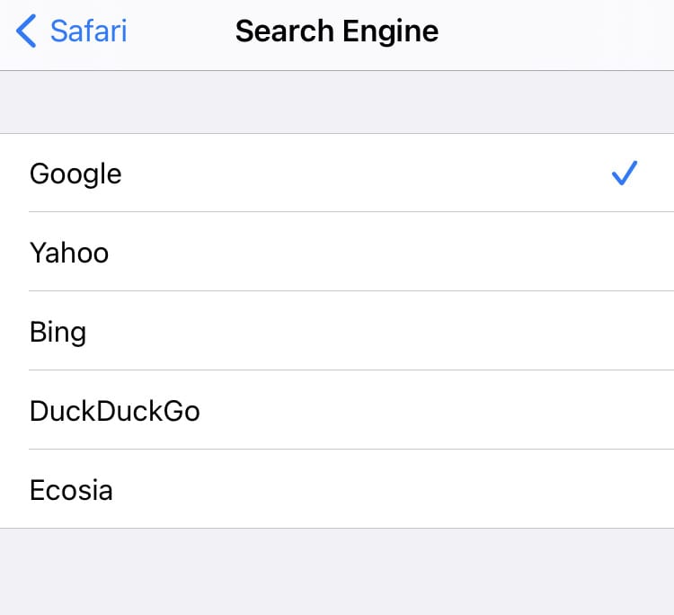 New search engines for Safari