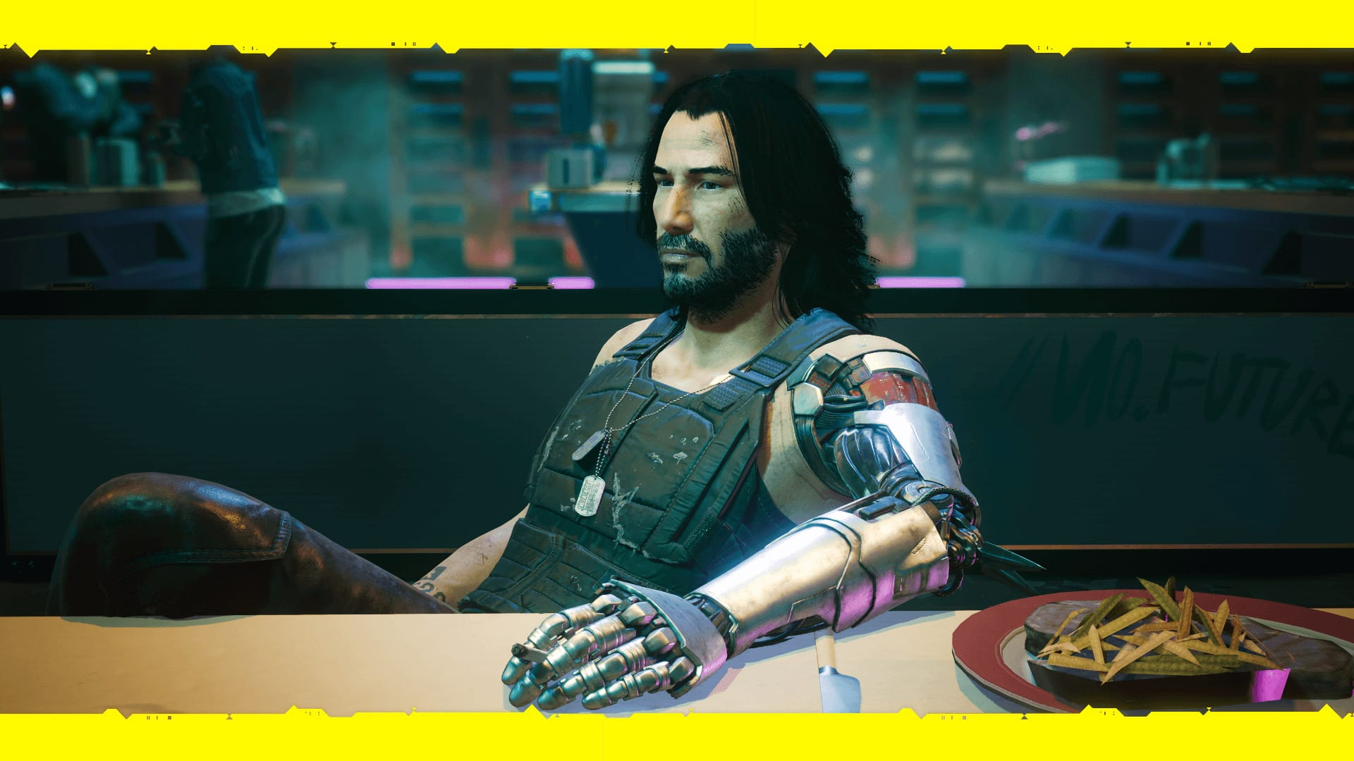 Johnny Silverhand, played by Keanu Reeves, in Cyberpunk 2077