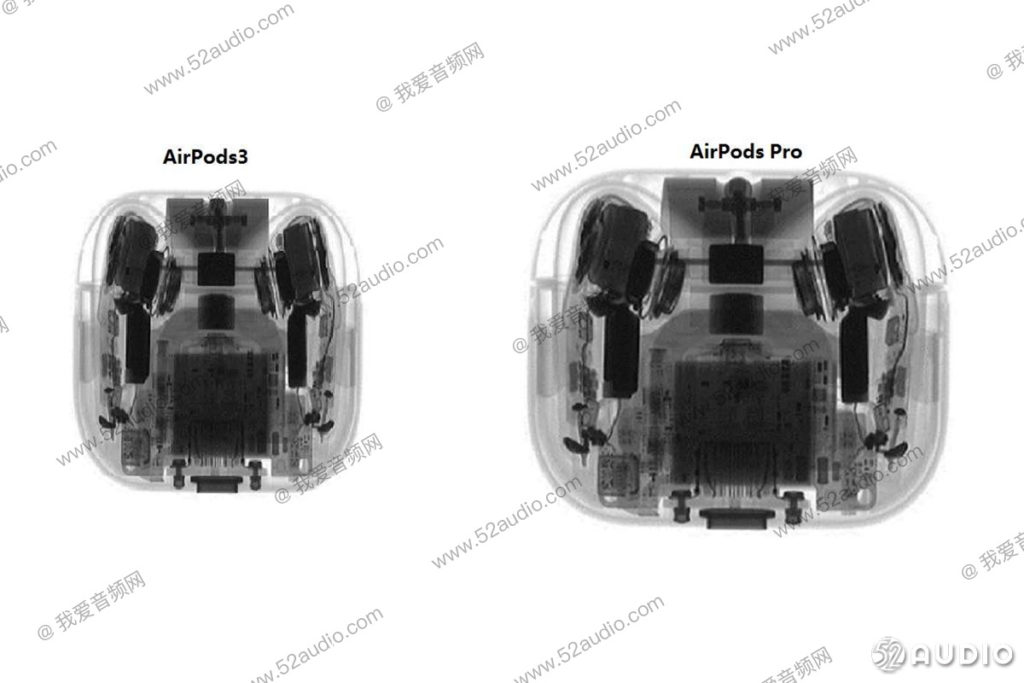Internals of the possible AirPods 3 visualised alongside the AirPods Pro. Courtesy: 52Audio