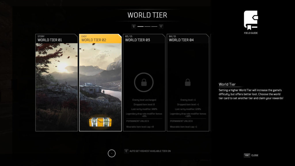 Outriders World Tier Levelling System