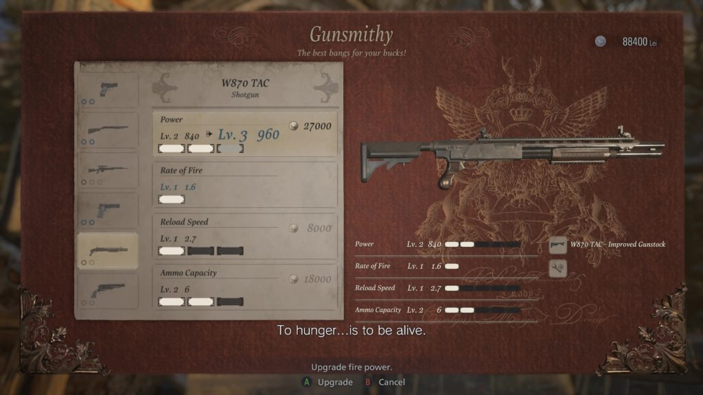 Weapon Upgrades in The Duke's offerings in Resident Evil VIII