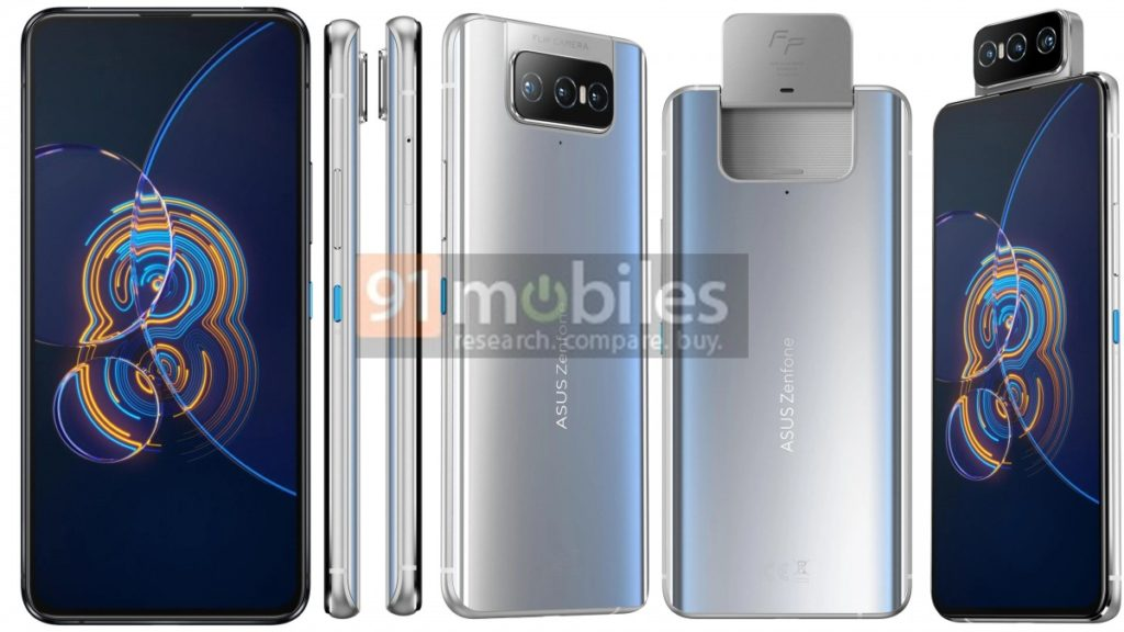 Zenfone 8 Flip will be available in a silver like finish. Courtesy: 91Mobiles