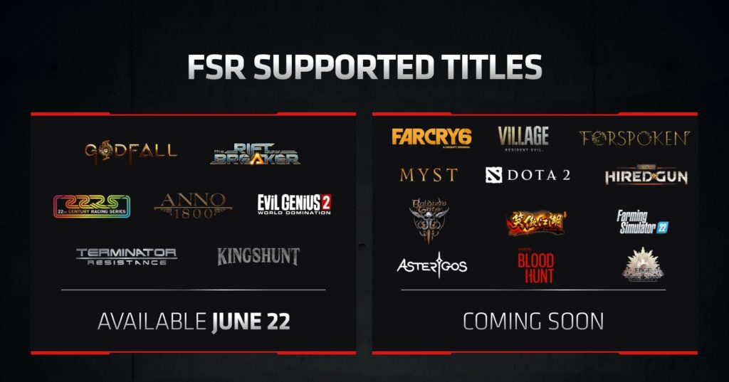 AMD FSR Supported Games at Launch