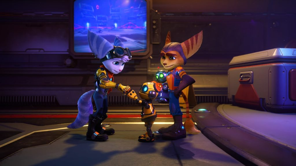 Ratchet, Clank, Rivet, and Kit in Rift Apart Weapons
