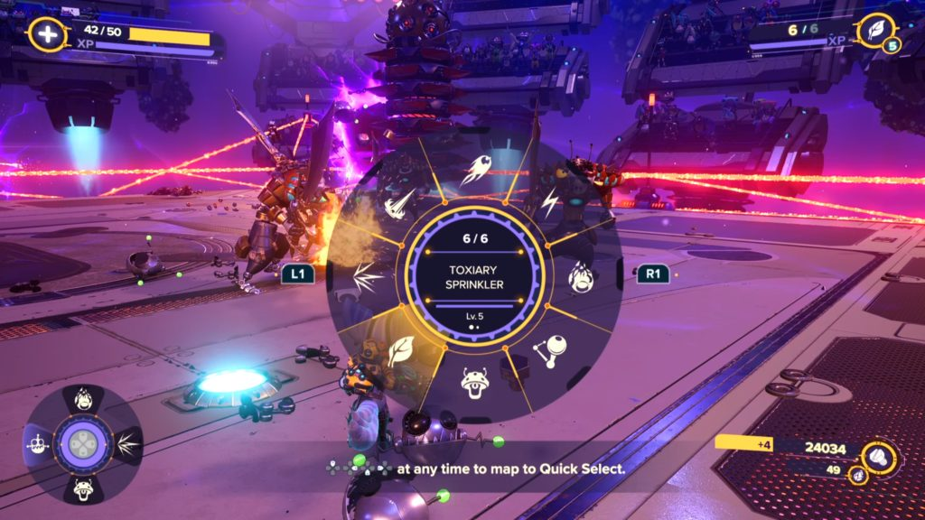 Ratchet and Clank Rift Apart Weapon Wheel