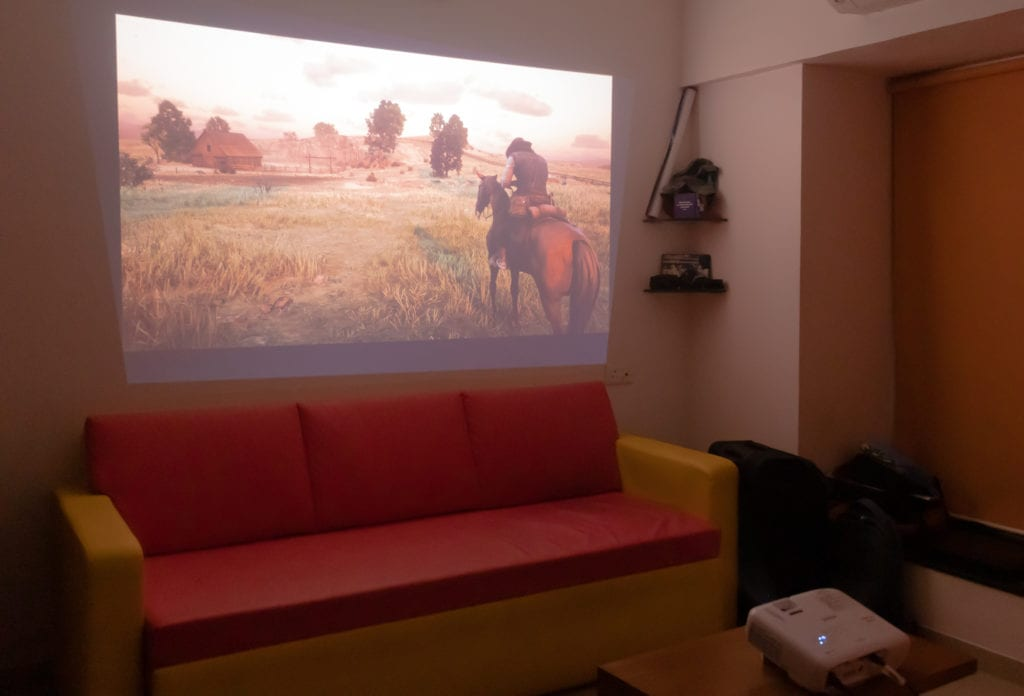 Red Dead Redemption 2 projected via the TW650